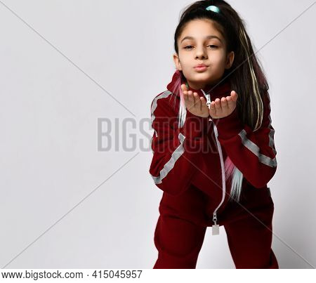 Caucasian Pretty Preteen Girl Model With Trendy Hairstyle Dressed Sportswear Tracksuit Sending Air K