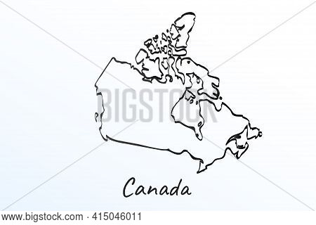 Hand Draw Map Of Canada. Black Line Drawing Sketch. Outline Doodle On White Background. Handwriting