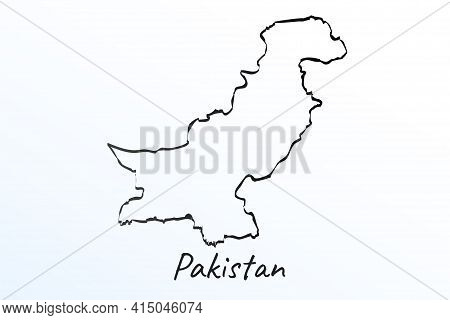 Hand Draw Map Of Pakistan. Black Line Drawing Sketch. Outline Doodle On White Background. Handwritin