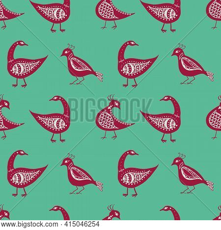 Stylized Bird Seamless Vector Pattern Background. Mix Of Folk Art And Ancient Greece Style Types Of