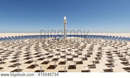 Solar Thermal Energy Plant With A Circular Array Of Collectors. Clean Energy, Modern Technology Conc