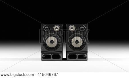 High Fidelity Stereo Loudspeakers On Black Background. Digital 3d Rendering.