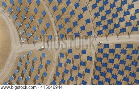Solar Energy Plant With A Circular Array Of Collectors. Clean Energy, Modern Technology Concept. Dig