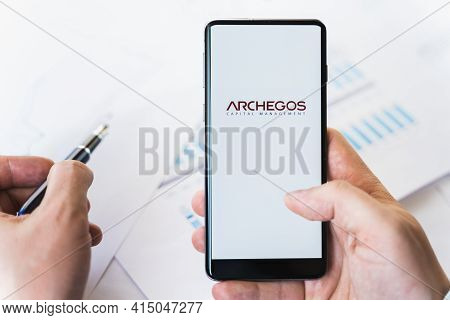 Russia Moscow 29.03.2021 Mobile Phone With Logo Of Archegos Capital Management.investment Finance Co