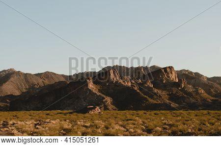 Large Rocky Outcrops In The Arid Region Of Uspallata, Mendoza, Argentina.