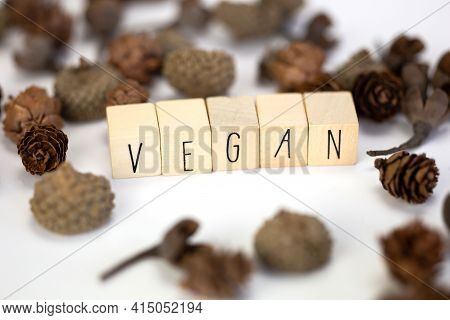 Vegan And Hashtag Written With Wooden Cubes And Nature Decoration Isolated On White Background With