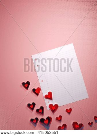Valentine's Day, Love Letter Template Background. Translucent Shiny Red Hearts And An Blank Paper Sh
