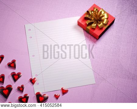 Valentine's Day Gift, Love Letter Template Background. Shiny Red Hearts, Fancy Gift Box And An Blank