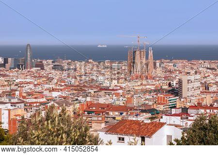 Barcelona - Spain. June 26, 2019: View Of Barcelona From The Observation Deck On The Tibidabo Hill.