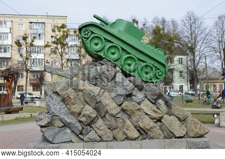 A Concrete Copy Of The Soviet Light Tank Bt-5 On A Monument In Honor Of The Commander M.m. Bogomolov
