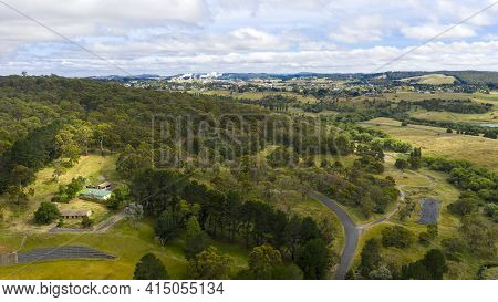 Aerial View Of The Township Of Oberon In The Central Tablelands In Regional New South Wales In Austr