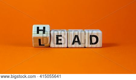 Head Lead Symbol. Turned The Cube And Changed The Word 'lead' To 'head'. Beautiful Orange Table, Ora