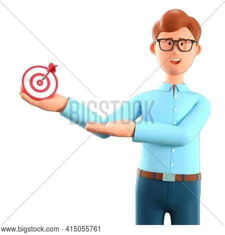3d Illustration Of Joyful Man Holding A Modern Target With A Dart In The Center And Showing Arrow In