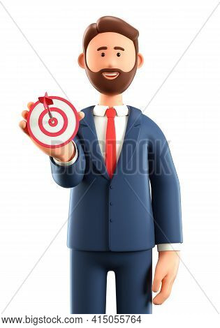 3d Illustration Of Smiling Man Holding A Modern Target With A Dart In The Center And Showing Arrow I