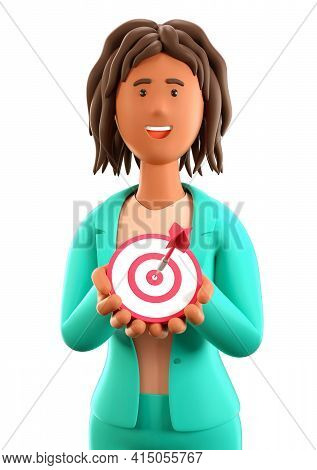 3d Illustration Of African American Woman Holding In Her Hands A Modern Target With A Dart In The Ce