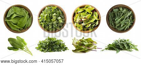 Leafy Vegetables Isolated On White. Spinach Leaves, Parsley, Swiss Chard (mangold Or Beet Leafs), Ar