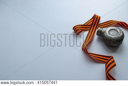 St. George Ribbon Around The Flask. The Flask Is Old, Went Through The Whole War And Was Made By A S