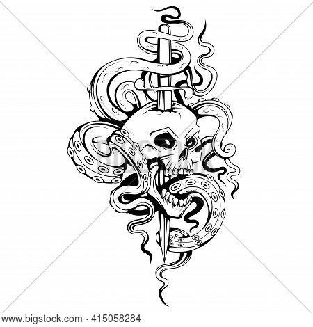 Kraken Sea Monster Tattoo. Sea Dagger. Skull Open Mouth Drawing. Emblem Tattoo Skull. Retro Human Sk