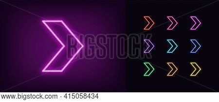 Neon Arrow Icon. Glowing Neon Motion Sign, Outline Arrow Pointer Silhouette In Vivid Colors. Arrowhe