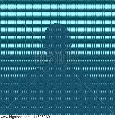 Man silhouette blue illustration, halftone pattern made of dashes