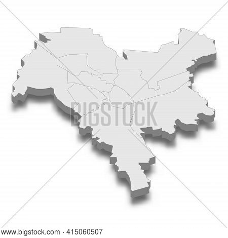 3d Isometric Map Of Kyiv City Is A Capital Of Ukraine, Vector Illustration