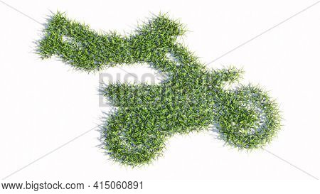 Concept or conceptual green summer lawn grass symbol isolated on white background, sign of a stuntman on a motorcycle. 3d illustration metaphor for sport, adrenaline, extreme competition, danger, fun