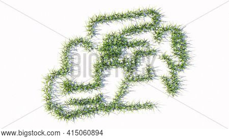 Concept or conceptual green summer lawn grass symbol shape isolated on white background, sign of a racing car. A 3d illustration metaphor for motorsport, competition, race, speed and power