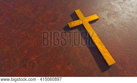 Concept or conceptual golden cross on a  rusted corroded metal or steel sheet backround. 3d illustration metaphor for God, Christ, religious, faith, holy, spiritual, Jesus, belief, resurection