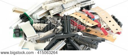 different radio electronic components in lab