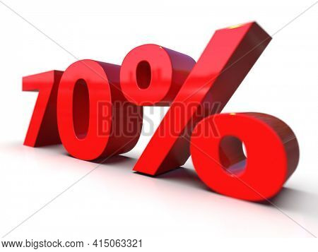 3D Illustration:70 Percent Interest Rate Sign, Red 70% Percent Discount 3d Icon on White Background, Special Offer 70% Discount Tag, Sale Up to 70 Percent Off, Seventy % Letters Sale Symbol