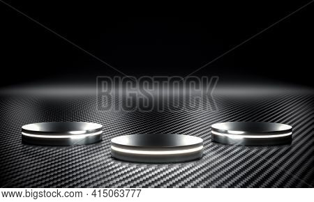 metallic podium with led luge and carbon fiber background. 3d render.
