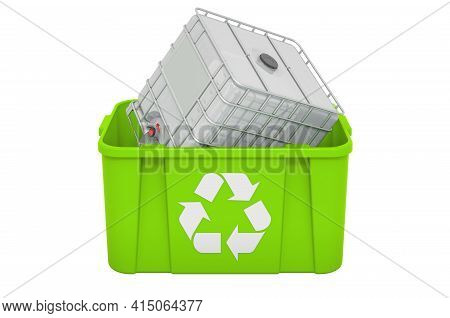 Recycling Trashcan With Intermediate Bulk. 3d Rendering Isolated On White Background