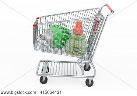 Shopping Cart With Fumigator, 3d Rendering Isolated On White Background