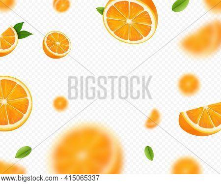 Orange Fruits Falling On Transparent Background. Blurred Orange Slices And Green Leaves For Advertis