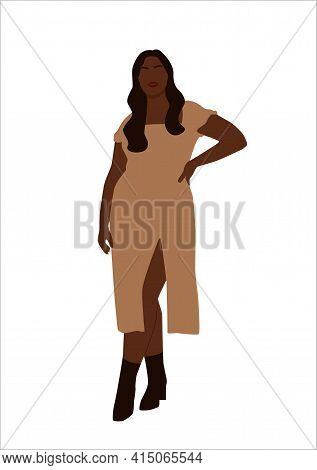 Abstract Portrait Of Plus Size Black Woman In Stylish Looks. Curvy Faceless Females Standing And Pos