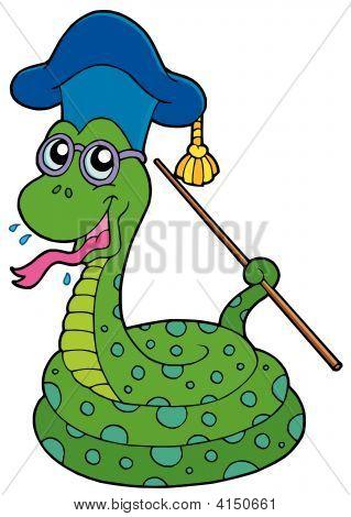 Snake teacher on white background - vector illustration. poster