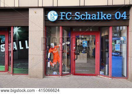 Gelsenkirchen, Germany - September 17, 2020: Fc Schalke 04 Official Sports Team Merchandise Store In