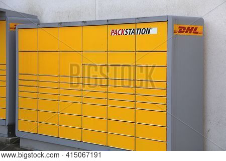 Bochum, Germany - September 17, 2020: Dhl Packstation In Wattenscheid, Germany. There Are Over 7,000