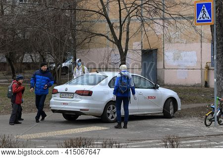 Kyiv Ukraine - March 18 2021: The Driver Parked A Car With The