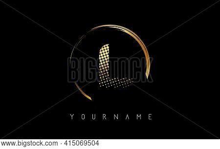 Golden L Letter Logo Design With Golden Dots And Circle Frame On Black Background. Creative Vector I