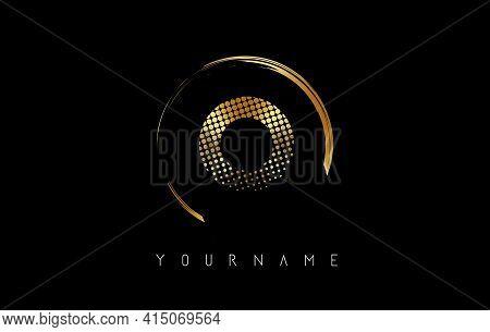 Golden O Letter Logo Design With Golden Dots And Circle Frame On Black Background. Creative Vector I