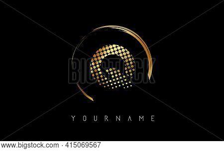 Golden Q Letter Logo Design With Golden Dots And Circle Frame On Black Background. Creative Vector I