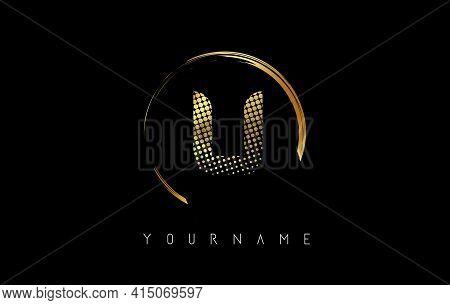 Golden U Letter Logo Design With Golden Dots And Circle Frame On Black Background. Creative Vector I