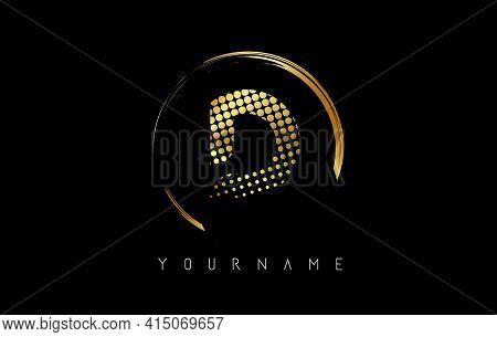 Golden D Letter Logo Design With Golden Dots And Circle Frame On Black Background. Creative Vector I