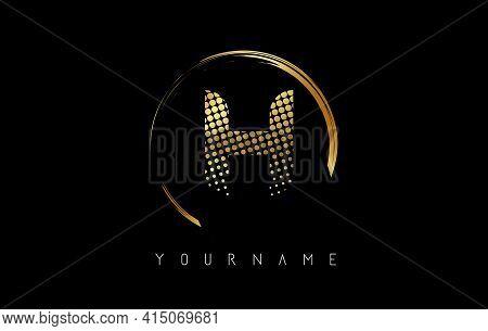 Golden H Letter Logo Design With Golden Dots And Circle Frame On Black Background. Creative Vector I