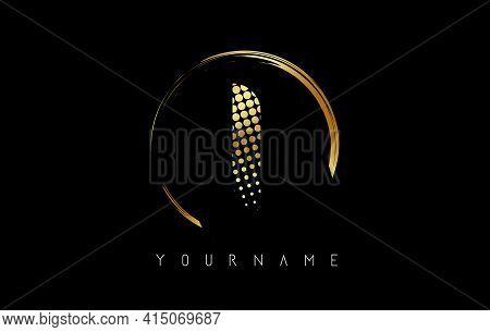 Golden I Letter Logo Design With Golden Dots And Circle Frame On Black Background. Creative Vector I