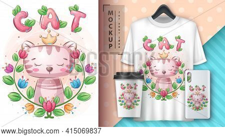 Princess Cat - Poster And Merchandising. Vector Eps 10