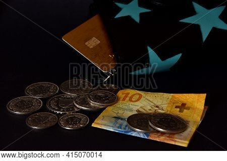 Eathe Purse With Blue Stars, Swiss Money And Plastic Bank Cards