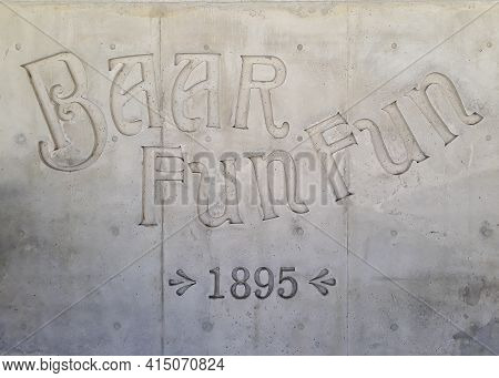 Carved Letters Of Fun Fun Bar, One Of The Most Traditional Touristic Restaurants Of Montevideo City,