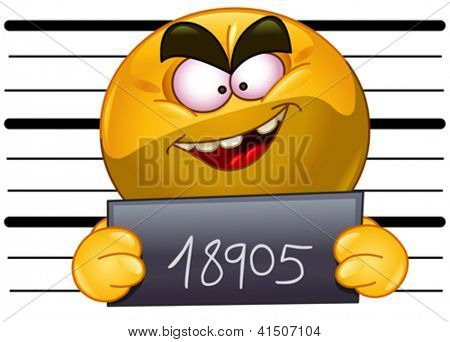 Arrested emoticon with measuring scale in back holding his number posing for a criminal mug shot